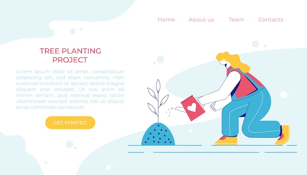Tree planting concept. woman is watering a plant. landing page.