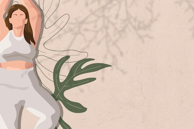 ヨガ、健康とウェルネスのイラストと木のポーズの境界線ベクトル背景
