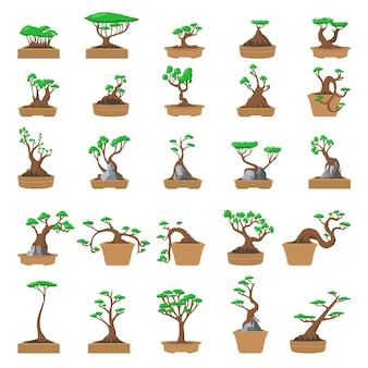 Tree pot icons set. cartoon set of tree pot  icons for web