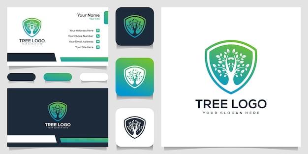 Tree protect shield logo design business card