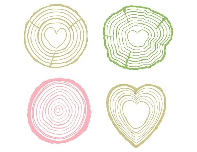 Годичные кольца иллюстрации набор дизайн