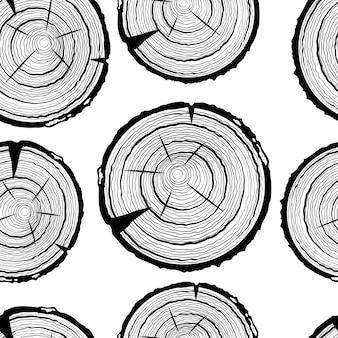 Tree rings seamless pattern