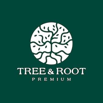 木の根の葉の丸い円のロゴ。