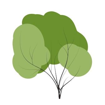 Tree set on doodles vector any season winter, spring, summen and autumn. flat style