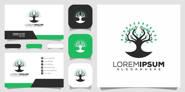 Шаблон логотипа в форме дерева с визитной карточкой