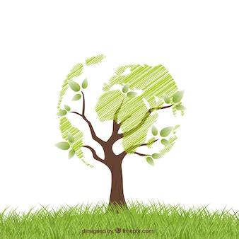 世界のような形の木