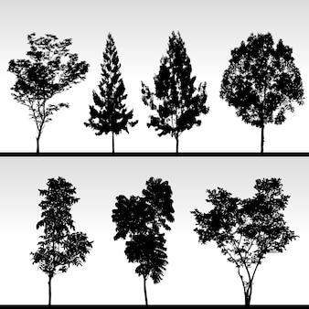 木のシルエット。シルエットの孤立した木のセット