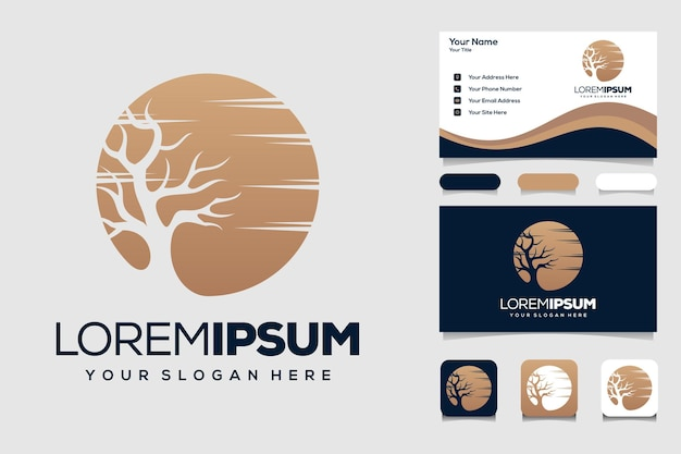 Tree silhouette landscape with circle moon logo design