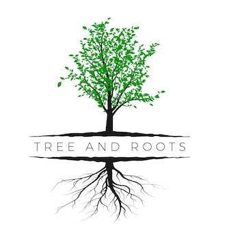 緑の葉と白い背景で隔離の根と木のシルエット。生態学と自然の概念。ベクトルイラスト