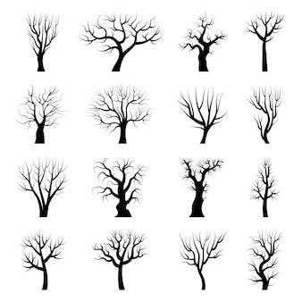 나무 실루엣입니다. 겨울 나뭇가지 죽은 가을 식물 줄기 벡터 삽화. 나무 가을 나무, 숲 겨울 분기 컬렉션