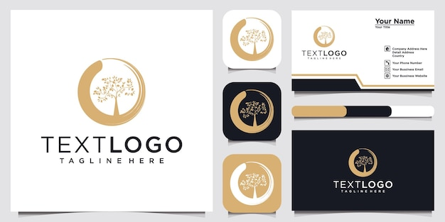 Tree simple logo and business card design template