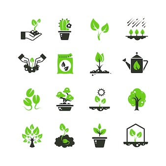 Tree sprout and plants icons. seedling and hand planting pictograms