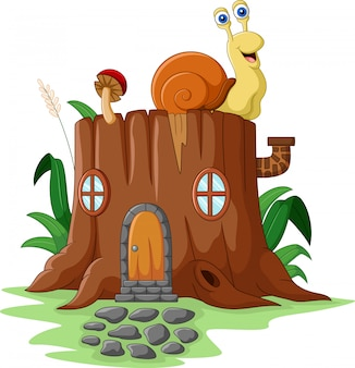 Tree stump house with snail