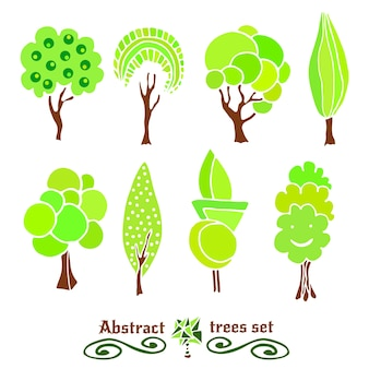 Tree symbols.trees hand drawn design collection set. abstract spring tree color silhouettes vector set.