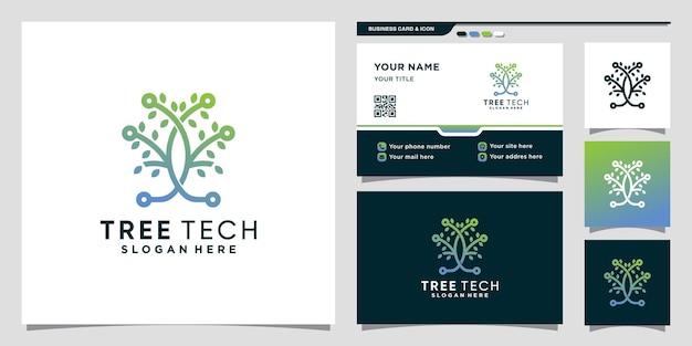 라인 아트 스타일과 명함 디자인으로 된 나무 기술 로고 premium vector