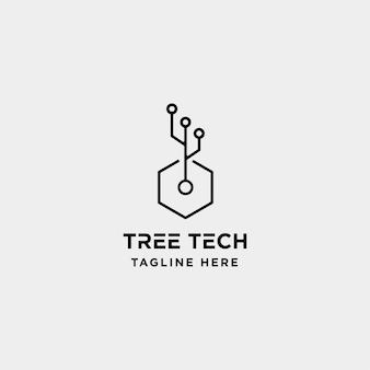 Tree technology logo design nature tech symbol icon illustration