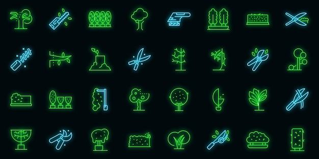 Tree trimming icons set outline vector. tree woodcutter. work neon color on black