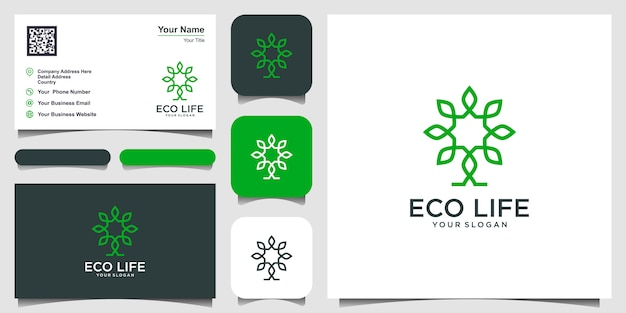 Tree vector logo design inspiration. logo design and business card