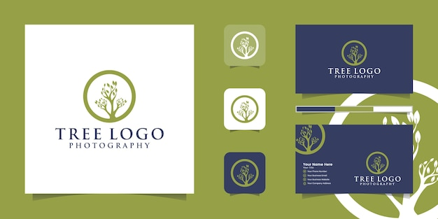 Tree vector logo. tree features. this logo is decorative, modern, clean and simple. and business card