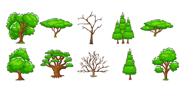 Tree vector set clipart design