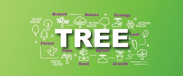 Tree vector trendy banner