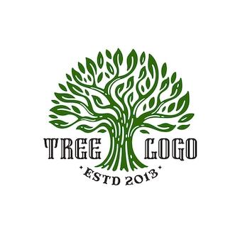 Дерево старинный логотип, изолированные на белом фоне