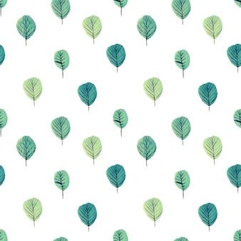 나무 수채화 원활한 패턴 프리미엄 벡터