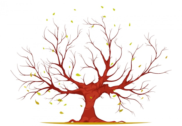 Tree with branches and roots, falling leaves, on white background, illustration