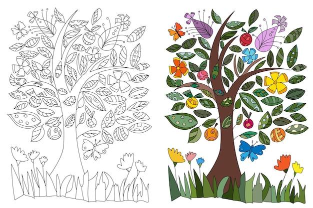 Раскраска дерево с цветами, листьями и бабочками