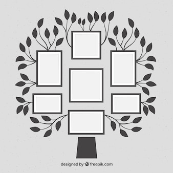 Tree with frames on the wall in flat style