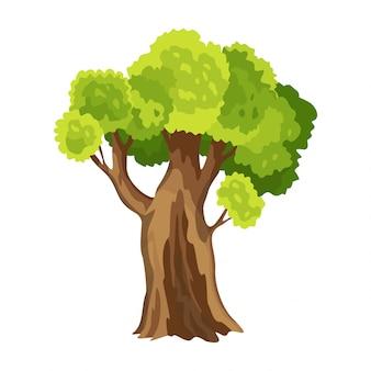 緑の葉を持つツリー。抽象的な様式化されたツリー。水彩の葉