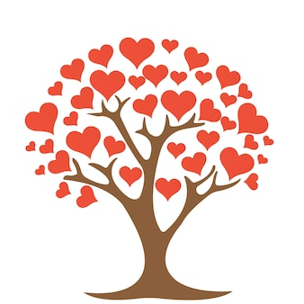 Tree with heart on white background