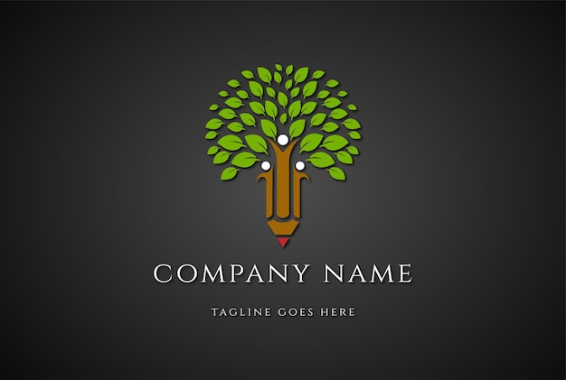 Tree with human pencil for school education logo design vector