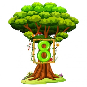 A tree with a number eight figure on a white background
