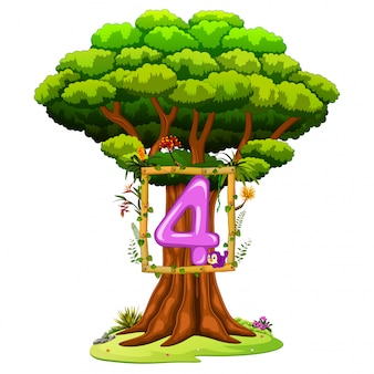 A tree with a number four figure on a white background
