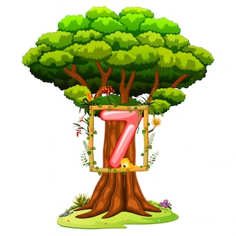 A tree with a number seven figure on a white background