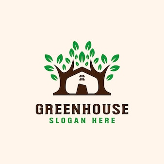 Tree with roof house logo template.