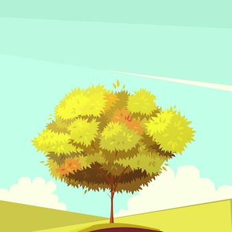 Tree with root retro cartoon illustration