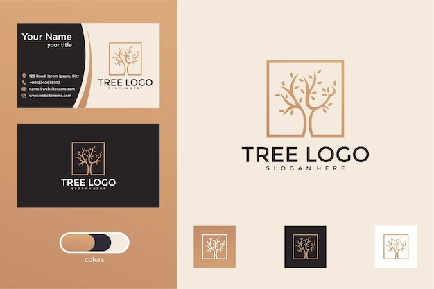 Tree with square logo design and business card