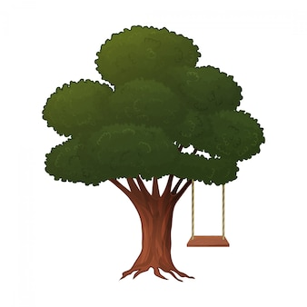 Tree with a swing on a white background. isolated object cartoon style. vector illustration.