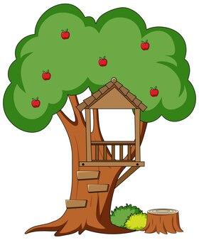Albero con foro dell'albero in stile cartone animato isolato su sfondo bianco