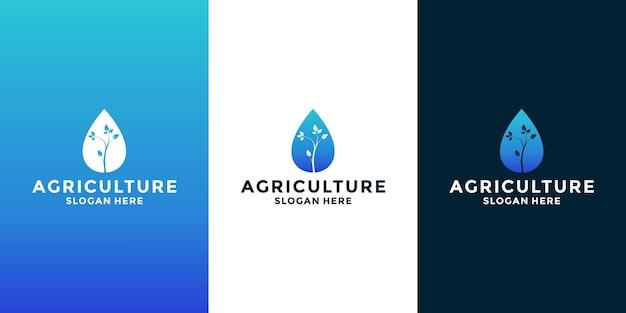 水農業ロゴデザインベクトルと木