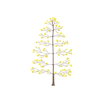Tree with yellow round leaves vector