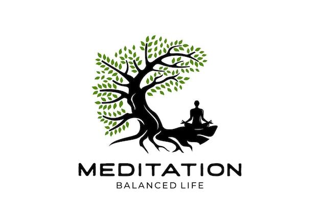 ヨガの人々、瞑想、バランスの取れた生活のロゴデザインのインスピレーションテンプレートとツリー