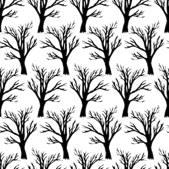 Tree without leaves on white seamless pattern. forest seamless texture. hand drawn background