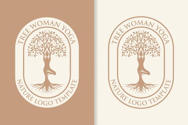 Дерево женщина йога природа логотип шаблон