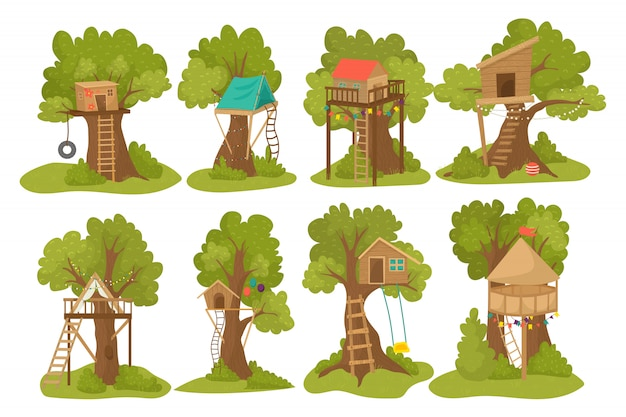 Tree wood houses for children playground with ladder, swing and flip-flap to play for kids outdoor   illustrations set. wooden treehouse for kids, park construction of little playhouses.