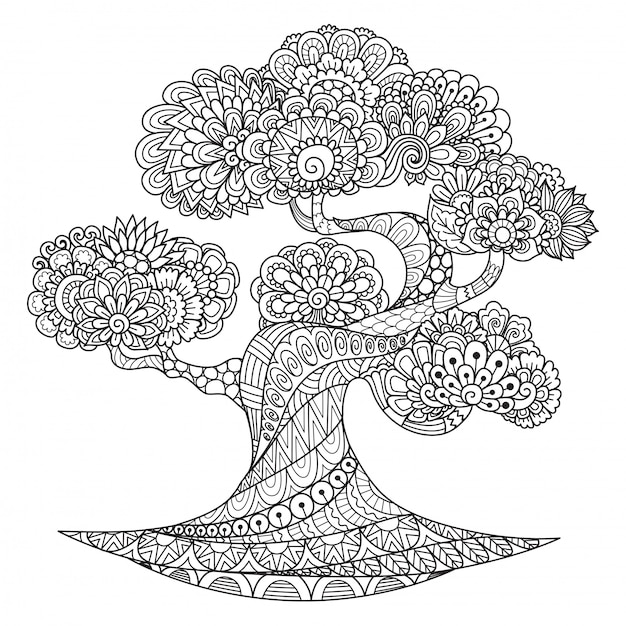 Tree zentangle style, coloring page