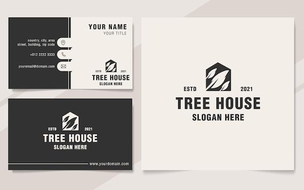 Шаблон логотипа treehouse в стиле монограммы