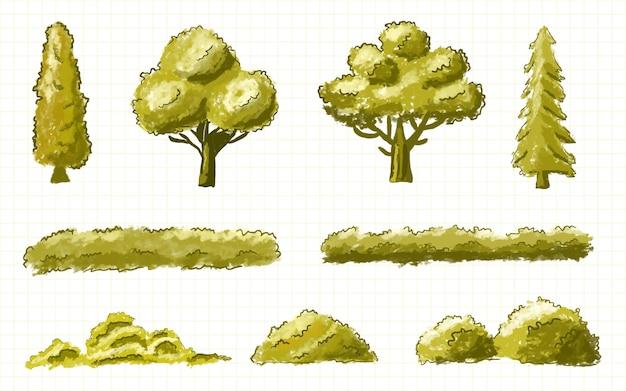 手描きの水彩画スタイルの木と茂みのコレクション